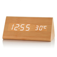 Jam Meja Kayu LED Wooden Small Table Clock Desk Clock - Cokelat Muda