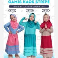 Gamis Kaos Stripe Polos Set Jilbab Hoofla Kids Dress Panjang Anak