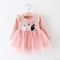 Dress Princess Bayi / Anak Perempuan Lengan Panjang Bordir Bunga