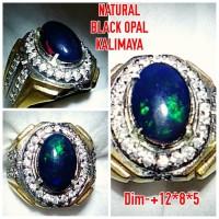 Natural Cincin Batu Permata Black Opal Kalimaya Jarong A9