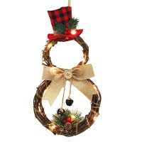 Christmas LED Wreath Garland Ornament Hanging Xmas Party Door Wall