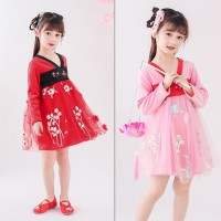Dress Lengan Panjang Motif Bordir Bunga Bahan Katun Blend Aneka