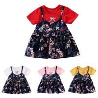 Dress Lengan Panjang Motif Print Bunga untuk Bayi Perempuan