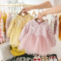 MYBABY Dress Gaya Cheongsam Lengan Panjang Motif Bunga Rok Mesh