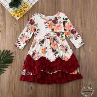 Dress Princess Lengan Panjang Motif Bunga Warna Putih untuk Bayi /