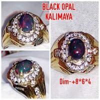Natural Cincin Batu Permata Black Opal Kalimaya Jarong A11