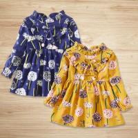 Dress Anak Perempuan Lengan Panjang Motif Print Bunga untuk Musim