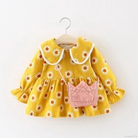 Mybaby Dress Casual Bayi / Anak Perempuan Lengan Panjang Motif Bunga