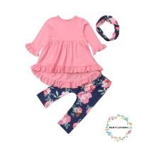 Dbo-kids Dress Princess Lengan Panjang Motif Bunga untuk Perempuan