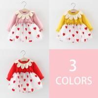 Dress Bayi / Anak Perempuan Lengan Panjang Motif Bordir Bunga Bahan