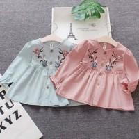 Dress Bayi / Anak Perempuan Lengan Panjang Motif Print Bunga untuk