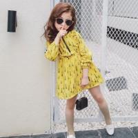 Dress Princess Lucu Lengan Panjang Motif Print Bunga untuk Bayi