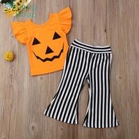 2pcs Cotton Summer Kids Girls Clothes Set Pumpkin Tops+Pants