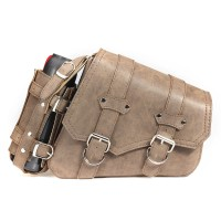 Vintage Brown PU Leather Left /Right Side Pannier MC