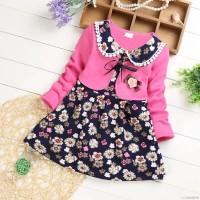 Dress Lengan Panjang Motif Bunga untuk Bayi Perempuan