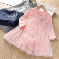 MYBABY Dress Lengan Panjang Casual Bordir Bunga Rok Mesh Gaya Musim