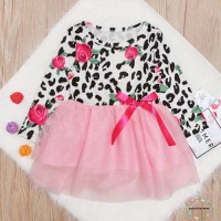 Ndb-kids Dress Tutu Lengan Panjang Motif Bunga Mawar untuk Bayi /
