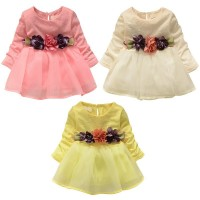 Dress Tutu Princess Lengan Panjang Bahan Lace Mesh Motif Bunga untuk