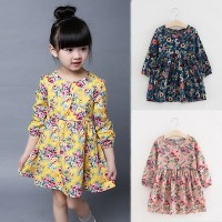 Dress Princess Lengan Panjang Motif Print Bunga untuk Musim Semi