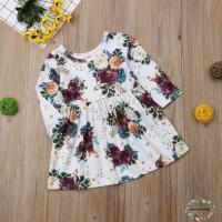 Dress Bayi / Anak Perempuan O-Neck Lengan Panjang Motif Print Bunga