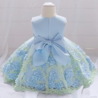 Dress Princess Anak Perempuan Lengan Panjang Bahan Mesh Motif Bunga