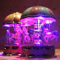 Kotak Musik Desain Kuda Carousel Vintage dengan Lampu Flash untuk