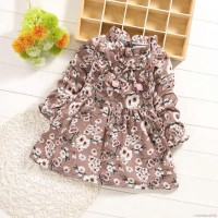 Mybaby Dress Musim Panas Lengan Panjang Motif Print Bunga untuk Bayi