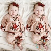 Set 2Pcs Dress Bayi Perempuan Lengan Panjang Motif Bunga + Celana