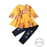 Dress Princess Tutu Tulle Anak Perempuan Lengan Panjang Motif Bunga