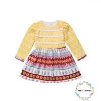 Hll-fancy Dress Princess Anak Perempuan Lengan Panjang Motif Bunga