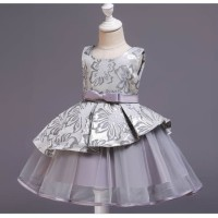 Baju Pesta Anak Premium Dress Party Batik Wedges Mini Silver WDRS0766