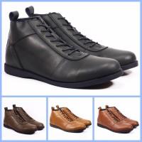 sepatu pria model brodo sepatu kantor sepatu boot nyaman - Hitam, 43