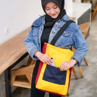 Tote bag Tas Kuliah Pria Wanita SPNB USA Drill Kode LEGO Kuning