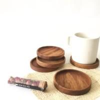 tatakan gelas kayu jati|teak wood coaster