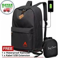 Tas Backpack Laptop USB Charger 5515 Tas Pria Wanita Tas Ransel Black