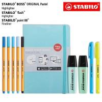 Study Kit - STABILO BOSS Pastel Flash Point 88 Pen + Jurnal / Biru