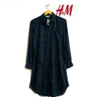 TERMURAH H&M flanel hijau | kemeja wanita women Hnm basic shirt