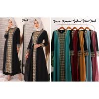 Baju Gamis Wanita Jersey + Brukat 2 / Busana Muslim Wanita