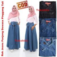 Rok Jeans Panjang Dewasa Pinggang Tali Model A