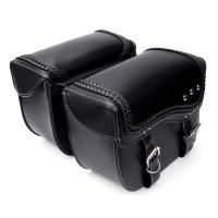 PU Leather Motorcycle Saddlebags Side Luggage Pannier Tool MC