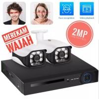 KERUI Paket CCTV POE NVR 8 Channel 2 kamera Mendeteksi Wajah 2MP