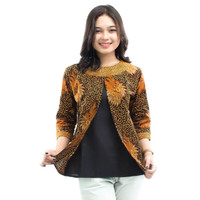 S-M-L-XL-XXL-3L-4L-5L Blouse Batik Wanita Atasan Batik Resleting iner,