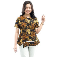 Blouse Batik Atasan Wanita Motif Daun Model ombak