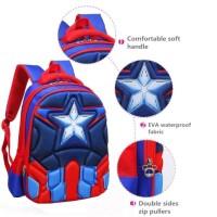 3D Emboss Tas Backpack Ransel anak sekolah karakter Captain America