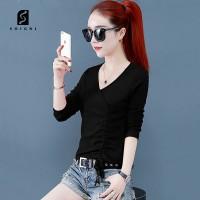 Soigni Kaos lengan panjang wanita T-shirt wanita dengan desain fashion