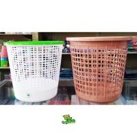 Keranjang Tempat Sampah Plastik Bulat Putih Coklat Green Leaf