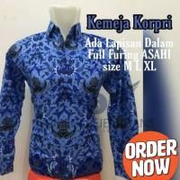Baju Korpri Pria Seragam PNS Kemeja Batik Biru Panjang Full Furing