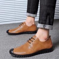 New Men Simple Fashion Lace-Up Kulit Casual Shoes Sepatu Tahan Air