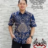 Kamandanu Blue Kemeja Batik Pria Lengan Pendek by Batik Anjani