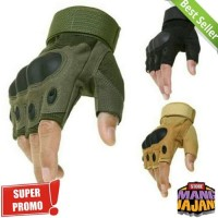 Sarung Tangan Tactical motor sepeda touring airsoft outdoor army half - Hijau